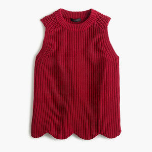 NWT J. Crew Red Scalloped Knit Sweater Shell